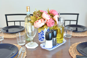 My End of Summer, Navy Blue Tablescape 1