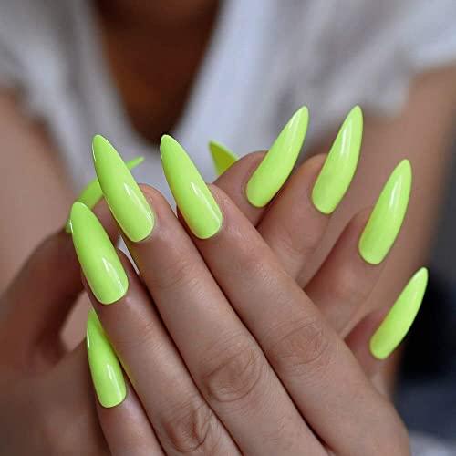 CoolNail Fluorescent Green Stiletto Press On Fake Nails