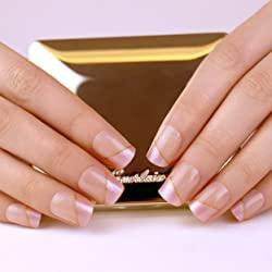ArtPlus Pink Golden Elegant Touch Fake Nails